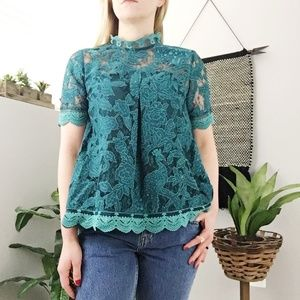 Anthropologie HD in Paris lace meadows green top 0